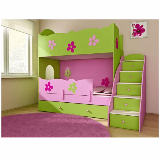 łóżko Piętrowe Babybest Clasic Zielonoróżowe