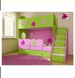 BABYBEST CLASIC łóżko piętrowe zielono/różowe