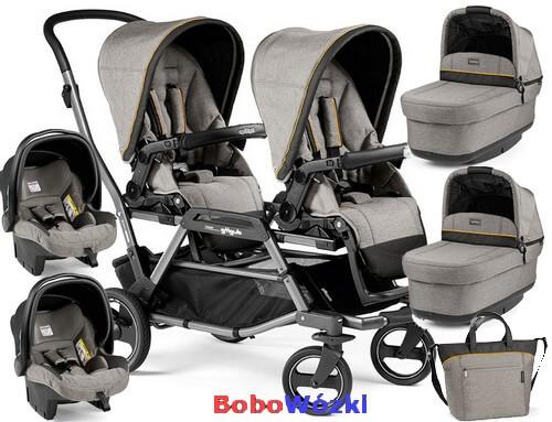 Wózek bliźniaczy Duette Piroet dla noworodków zestaw