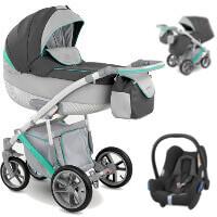 Wózek 3w1 CAMARELO PIRO + fotelik Maxi Cosi CABRIO FIX