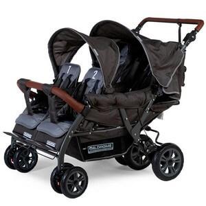 Wózek spacerowy dla 4 dzieci CHILDHOME QUADRUPLE + folia p/deszczowa
