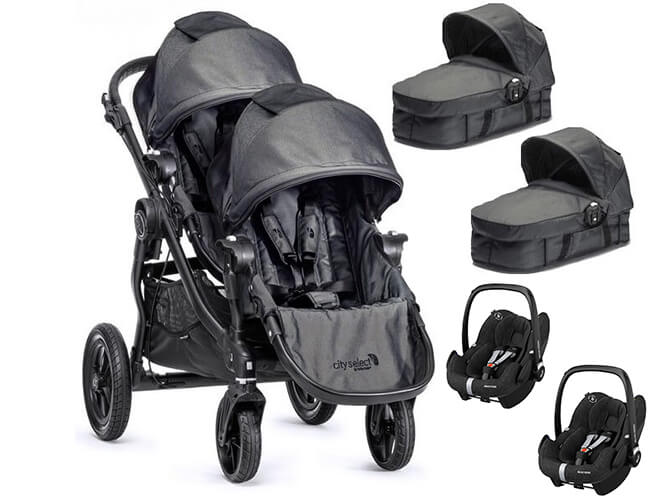 Wózek głęboko-spacerowy BABY JOGGER CITY SELECT DOUBLE + 2 foteliki Maxi Cosi PEBBLE PLUS 1