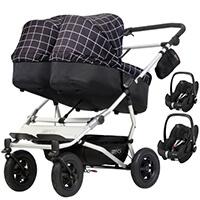 Wózek 3w1 bliźniaczy MOUNTAIN BUGGY DUET 3 + 2 foteliki Maxi Cosi PEBBLE PRO