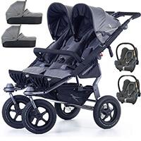 Wózek bliźniaczy 3w1 TFK TWIN ADVENTURE 2 + 2 foteliki Maxi Cosi CABRIO FIX