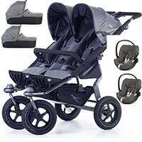 Wózek bliźniaczy 3w1 TFK TWIN ADVENTURE 2 + 2 foteliki Cybex CLOUD Z i-Size