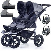 Wózek bliźniaczy 3w1 TFK TWIN ADVENTURE 2 + 2 foteliki Maxi Cosi PEBBLE PRO