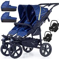 Wózek bliźniaczy 3w1 TFK TWIN TRAIL 2 + 2 foteliki Maxi Cosi PEBBLE PRO