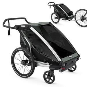 Wózek do biegania THULE CHARIOT LITE 2 + przyczepka rowerowa dla dwójki dzieci