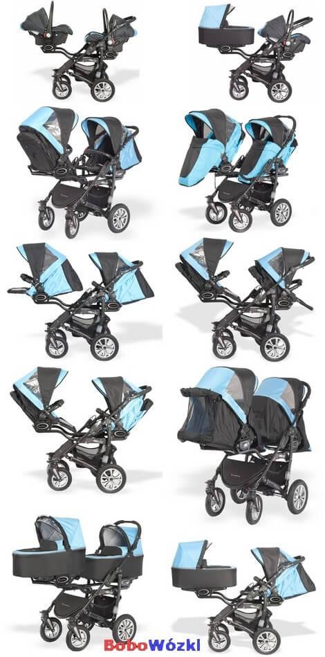 Babyactive Twinni wózek dla bliźniąt z fotelikami