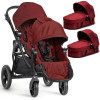 Wózek bliźniaczy 3w1 BABY JOGGER CITY SELECT DOUBLE + 2 foteliki Kiddy EVOLUTION PRO 2 Garnet
